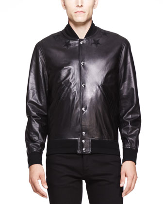 Star-Detail Leather Bomber Jacket, Black