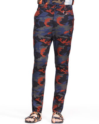 Camo Trousers, Blue/Orange