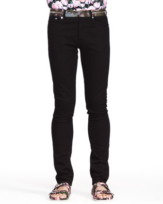 Camo-Zip Inlay Denim Jeans, Black
