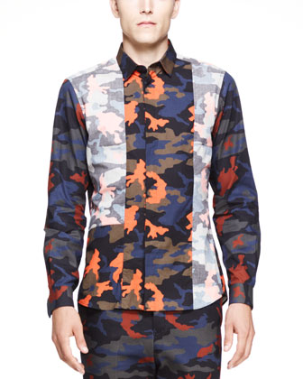 Camo-Print Reverse Inlay Shirt, Bright Orange