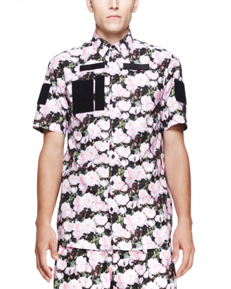 Rose-Print Cuban Shirt, Light Pink