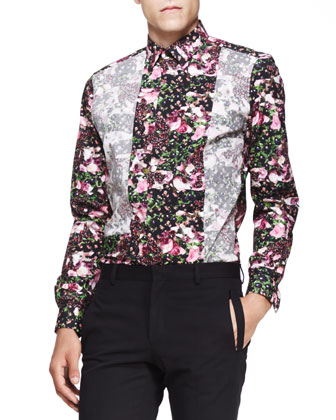 Two-Button Cotton Jacket, Floral-Print with Reverse-Inlay Shirt & Tab-Pocket Wool/Mohair Trousers
