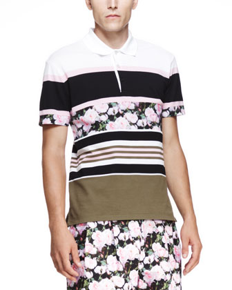 Multi-Striped Cuban Polo, Light Pink