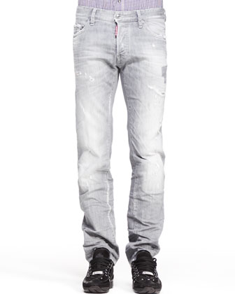 Distressed Dean Denim Jeans, Gray