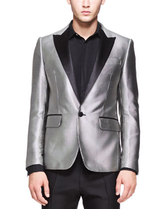 Micro-Dot Evening Jacket, Black/Silver
