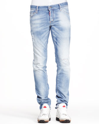 Distressed Five-Pocket Jeans, Light Blue