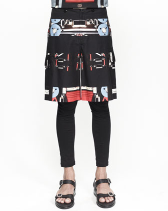 Robot-Print-Striped Bermuda Shorts