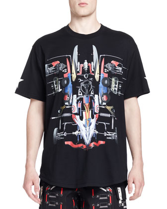 Deconstructed Car Graphic Tee, Black