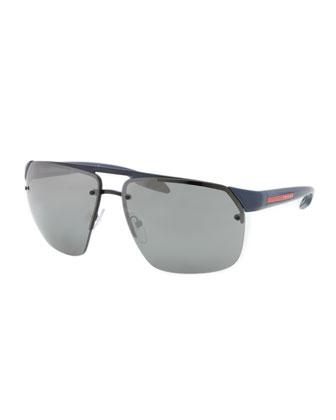 Rimless Mirrored Sunglasses, Royal