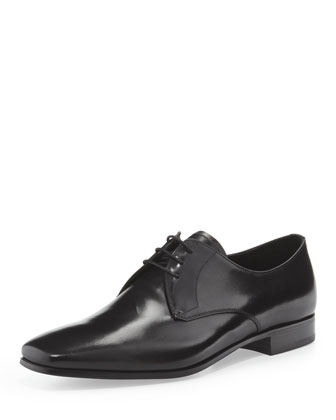 Smooth Leather Lace-Up, Black