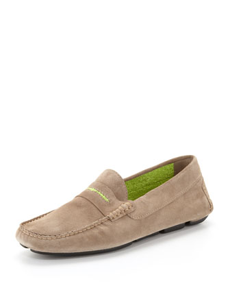 Men's Roadster Suede Driver Loafer, Tan/Lime