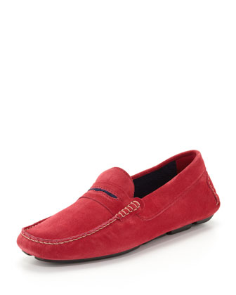 Men's Roadster Suede Driver Loafer, Red/Navy