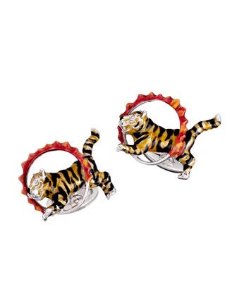 Tiger & Flame Hoop Cuff Links