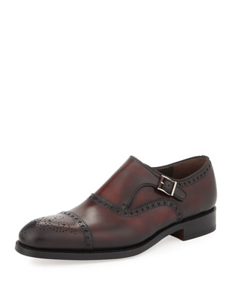 Hand-Antiqued Single Monk Strap Loafer