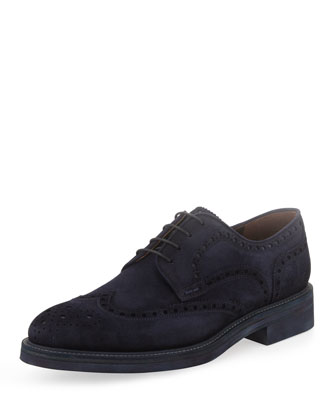 Suede Wing-Tip Lace-Up, Blue