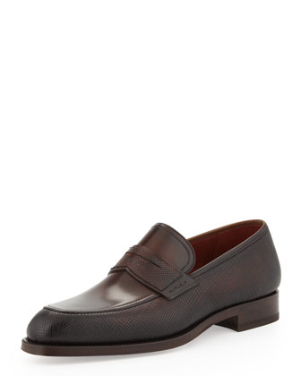 Hand-Antiqued Textured Leather Penny Loafer
