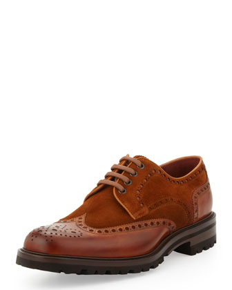 Hand-Antiqued Suede/Leather Lug-Sole Lace-Up