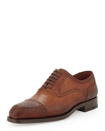 Hand-Antiqued Textured Leather Brogue Lace-Up