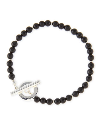 Men's Sterling Silver Boule Bracelet, Black
