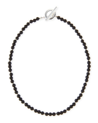 Men's Sterling Silver Boule Necklace, Black
