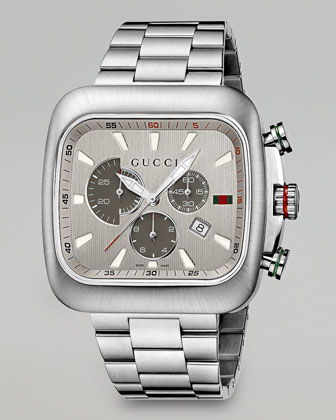 Coupe XL Square Chronograph Watch, Silver