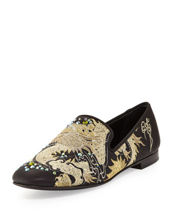 Men's Embroidered Dragon Loafer, Nero