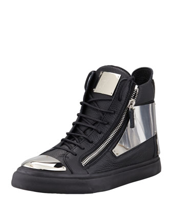Leather Silver-Plate Zip High-Top