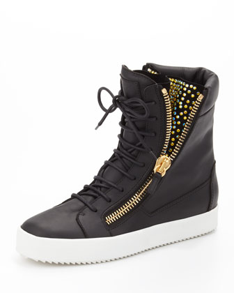 Crystal-Zip High-Top Sneaker, Black