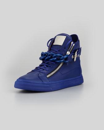 Chain & Zipper Leather High-Top, Praga Bluette