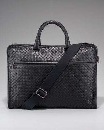 Slim Woven Briefcase, Black