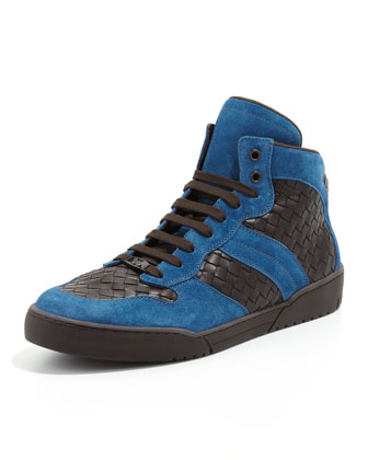 Men's Woven High-Top Sneaker, Blue/Brown