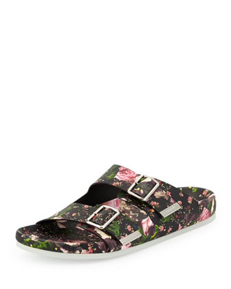 Floral Double-Strap Footbed Sandal, Rose