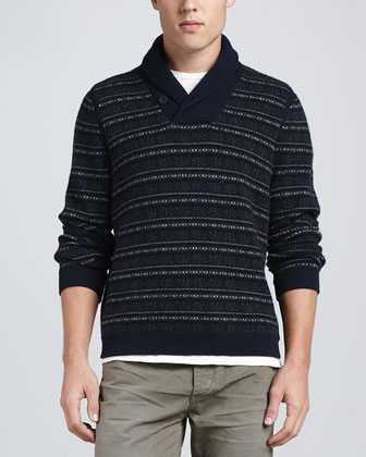 Patrick Shawl Collar Sweater, Navy