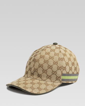 GG Canvas Baseball Hat, Olive Green