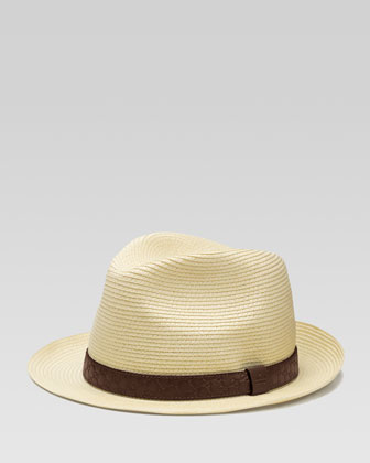 Guccissima-Band Straw Fedora, Tan/Burgundy