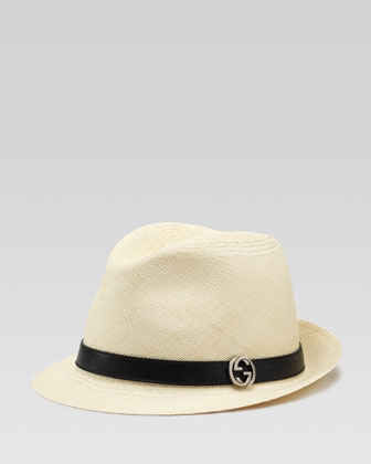 Natural Straw Fedora, Tan/Black