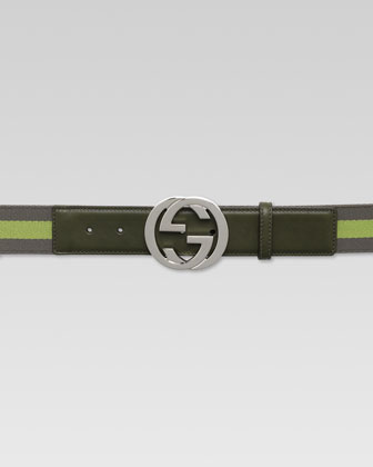 Web Belt with Interlocking G Buckle, Olive