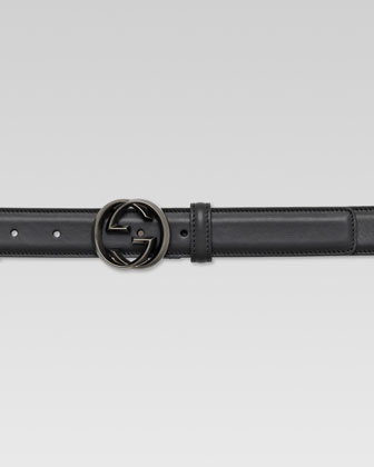 Interlocking G Buckle Leather Belt, Black