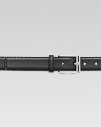 Classic Leather Dress Belt, Black
