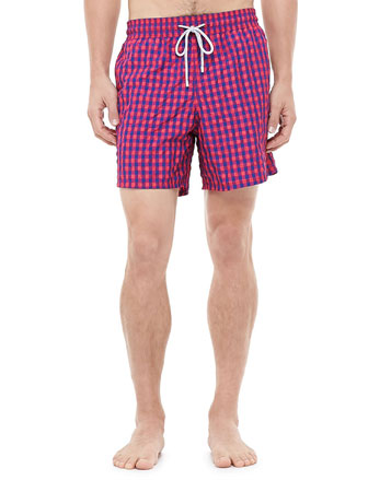 Morio Gingham Swim Trunks, Red/Blue