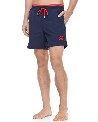 Moka Embroidered Turtle Swim Trunks, Navy