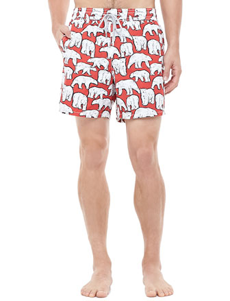 Moorea Polar Bear Swim Trunk, Red/White