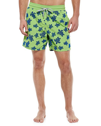 Moorea Turtle Print Swim Trunks, Green