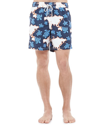 Moorea Globe Turtle Swim Trunks, Blue