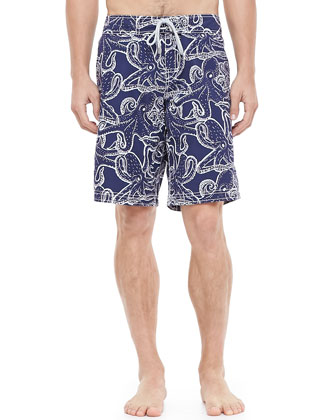 Ocean Octopus Board Shorts, Blue