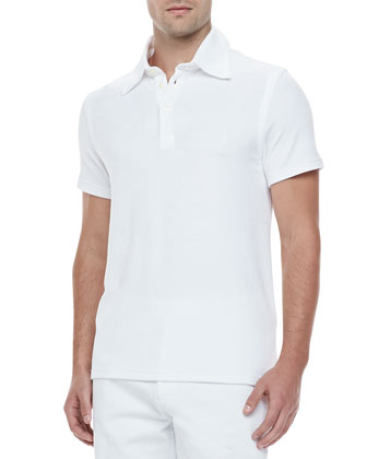 Short-Sleeve Terry Polo, White