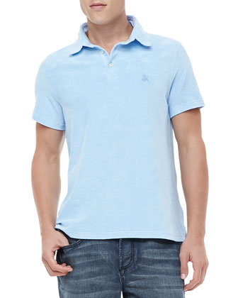 Short-Sleeve Terry Polo, Light Blue