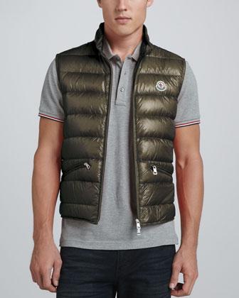 Gui Lightweight Puffer Vest, Olive
