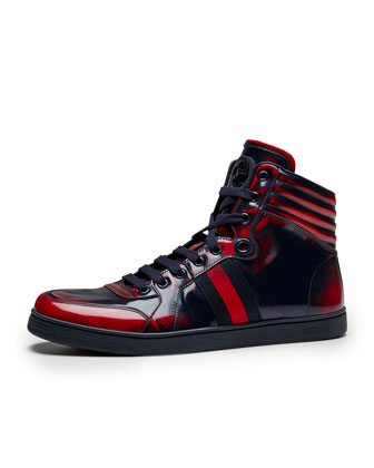 Coda Burnished High-Top Sneaker, Red/Blue