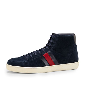 Suede High-Top Sneaker, Navy